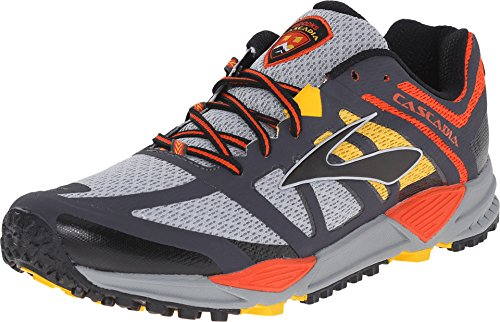 Brooks Men's Cascadia 11 River Rock/CherryTomato/Spectra Yellow Sneaker 11.5 D (M)