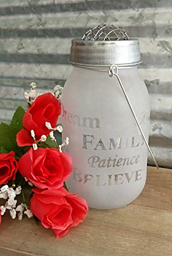 Pasco Specialty Products Lovely Frosted & Etched Glass Mason JAR with Frog Lid and Handle for Flowers, etc. - - Love, Dream, Believe, Live, Family, Patience