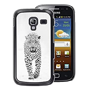 A-type Arte & diseño plástico duro Fundas Cover Cubre Hard Case Cover para Samsung Galaxy Ace 2 (Snow Leopard Winter Black White Spots)