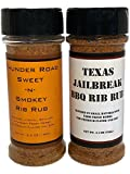 Thunder Road Sweet-n- Smokey Rib Rub & Texas Jailbreak BBQ Rib Rub Gift or Variety Pack (2 count) - Blended in Small Batches with Farm Fresh Herbs for Premium Flavor and Zest