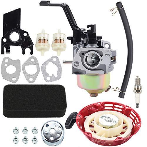 Kizut 46561 Carburetor + Recoil Starter + Air Filter Fuel Line Kit for Champion Power Equipment 196CC 6.5HP 3000 3500 4000 Watt Generator 46558 46596 46533 46534 46535 46539 46540 46551 46553 46554