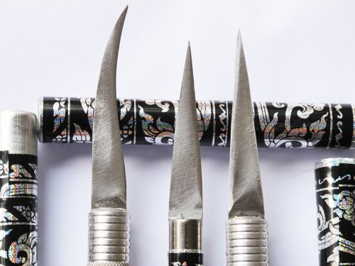 Set of Fruit Carving Knife Handle Carving Stainless steel. It Very Beautiful of Thailand 1 Set have 3 Pcs. (Black Color)
