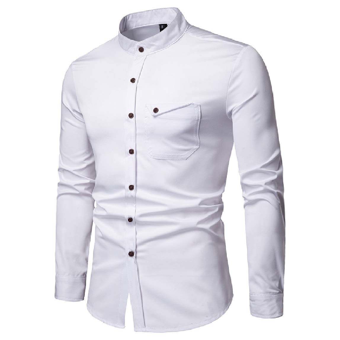 RingBong Mens Buttoned Pure Stand up Collar Long-Sleeve Causal Henley Shirts