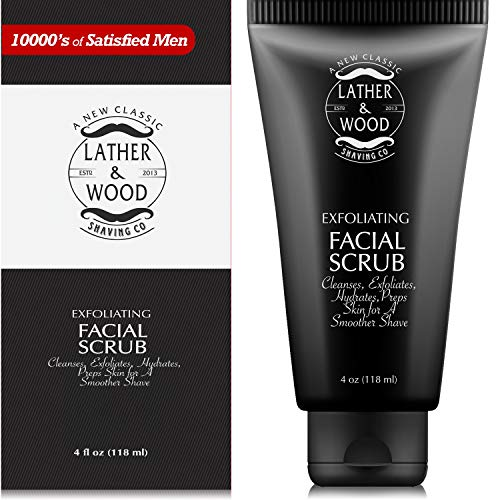 Best Face Wash for Men - Lather & Wood's Face Scrub - Luxurious Exfoliating Mens Face Wash for the Man's Man. 4oz Facial Cleanser for Men. (Best Face Cleaner For Men)