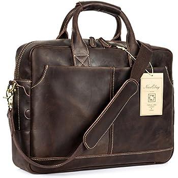 Amazon.com: BAIGIO Men's Vintage Genuine Leather Laptop Briefcase ...