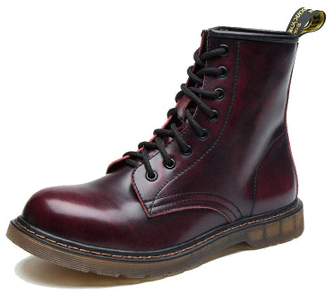 Bebete5858 Bottes en cuir de style anglais avec velours chaud Bottes en coton Bottes en cuir pour hommes Grandes bottes Bottines
