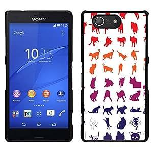 EJOY---Cubierta de la caja de protección para la piel dura ** Sony Xperia Z3 Compact ** --Red White Blue Cat Patrón Gatito felino