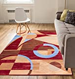 """Well Woven Doco Deco Red 8×10 (8'2"""" x 9'10"""") Contemporary Abstract Modern Geometric Art Deco Thin Value Area Rug Perfect for Living Room Dining Room Family Room Greatroom Review"""
