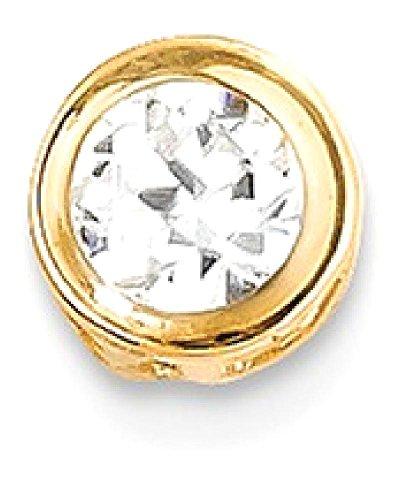 ICE CARATS 14k Yellow Gold 5mm Cubic Zirconia Bezel Pendant Charm Necklace Slide Chain Gemstone Fine Jewelry Gift Valentine Day Set For Women Heart (14k Yellow Slide)
