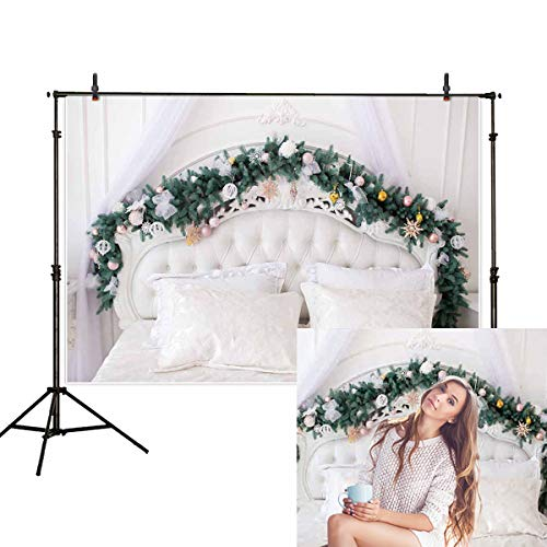 Allenjoy 7x5ft Christmas Headboard Backdrop Winter Tufted Pine Tree Leaf Damask Pillow Indoor Bedroom Photography Background Decoration Photo Studio Props