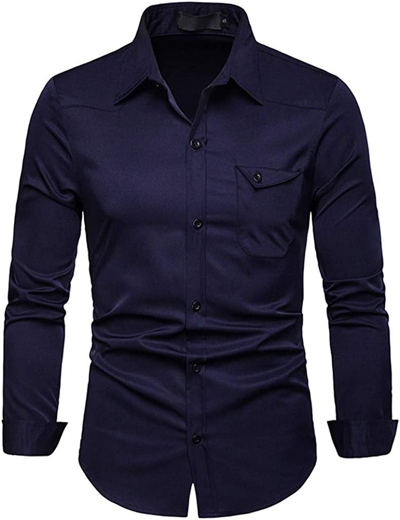TAGGMY Men Shirts Long Sleeve Pure Color Spring Fashion Design Casual Slim Fit Button Standing Collar Tops Blouse T-Shirt