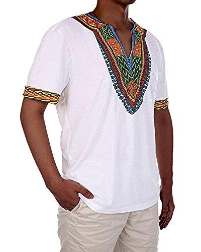 Huiyuzhi Mens African Print Dashiki T-Shirt Tops, Large, White