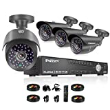 TMEZON 8 Channel 1080N HDMI AHD DVR HVR NVR 3 in 1 Security System including 4x 2000TVL 2.0MP Waterproof Bullet Surveillance Camera w/ 42 IR Leds Night Vision Up to 130ft Remote View Review