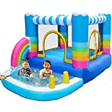 MEIOUKA Outdoor Indoor Inflatable Bounce Houses Jumper with Small Ball Swimming Pool 350W Blower Colorful Rainbow Inflatable Bouncy House Jumping Bouncer Castle for Kids Outdoor Indoor Party Yard Toys