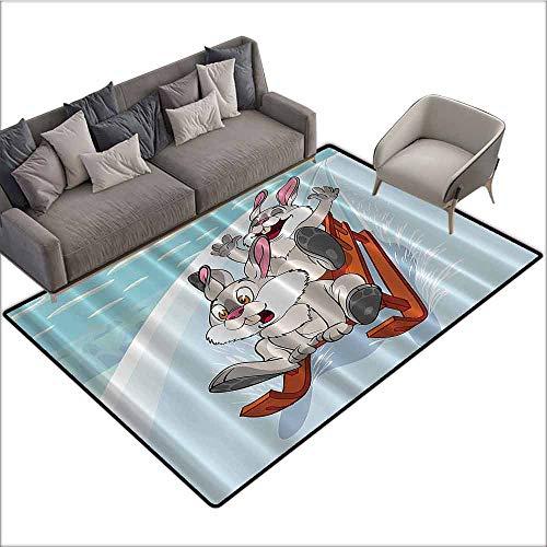 Floor Entrance Rug Bunny,Fun Winter Wooden Sled Kids Nursery Funny Cartoon,Aqua White Orange Gray 64