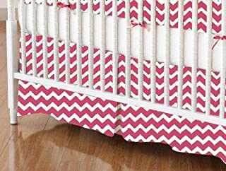 product image for SheetWorld 100% Cotton Percale Crib Skirt 28 x 52, Hot Pink Chevron Zigzag, Made in USA