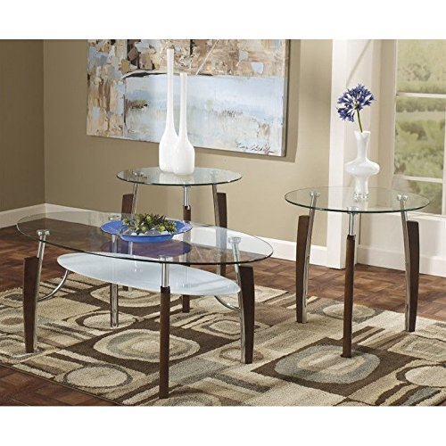 Ashley Furniture Signature Design - Avani Occasional Table Set - End Tables and Coffee Table - 3 Piece - Oval - Glass Top with Nickel Base