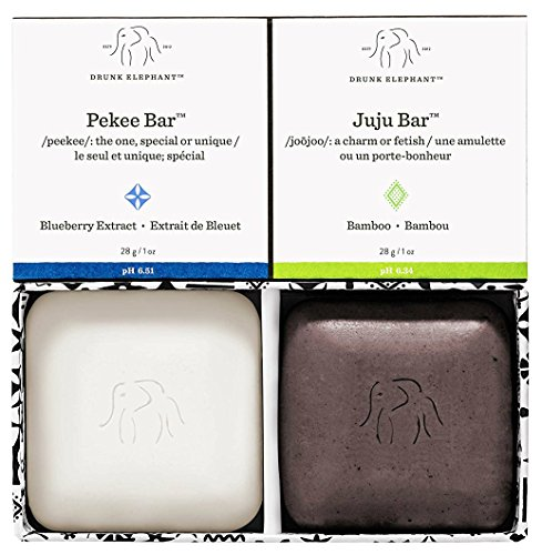 Drunk Elephant Baby Juju + Baby Pekee Travel Duo - Exfoliating Face Wash and Moisturizing Bar Cleanser. (1 oz each)