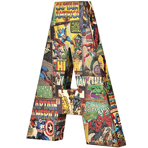 (Marvel Retro 10 inch with Printed Comic Book Panels and Covers, Recycled MDF Wood Alphabet Letter Edge Home Products 10 by 1 inch Red Blue Yellow)
