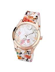 Sannysis Women Girl watch Silicone Printed Flower watch Quartz Wrist watch (orange)