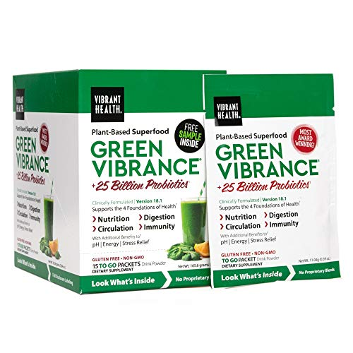 Vibrant Health, Green Vibrance, Plant-Based Superfood to Support Immunity, Digestion, and Energy with Over 70 Ingredients, 25 Billion Probiotics, (15 Servings) (FFP)