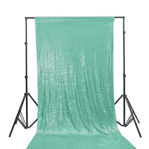 TRLYC 3Ft7Ft Mint Sequin Photography Backdrop/Curtain For Wedding