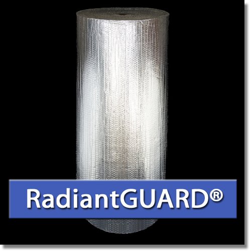 RadiantGUARD DOUBLE Bubble Aluminum Reflective Insulation Roll 48-inch by 125 linear feet (500square feet) Bubble Wrap Pack Metal Building Vapor Barrier - BLOCKs 94% of Heat and Reduces Condensation by RadiantGUARD