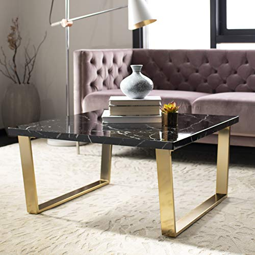 Safavieh Home Collection Carmen Black Marble and Brass Square Coffee Table, (Table Brass Square Coffee)