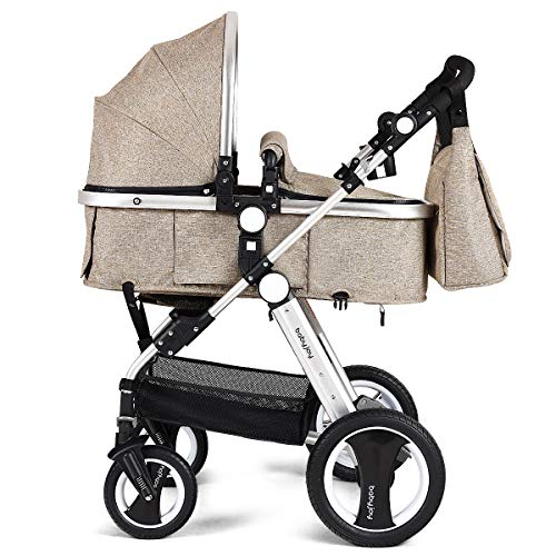 BABY JOY Baby Stroller, 2-in-1 Convertible Bassinet Reclining Stroller, Foldable Pram Carriage with 5-Point Harness, Including Cup Holder, Foot Cover, Diaper Bag, Aluminum Structure, Khaki