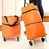 WWJ Folding shopping/small trailer/travel/storage bag/laptop bag/trolley car luggage trolley , orange