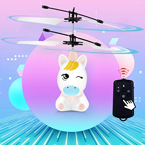 PALA PERRA RC Helicopter Flying Toys with Rechargeable Mini Infrared Induction Drone, Unicorn RC Toys for Kids Boys Girls Indoor Games