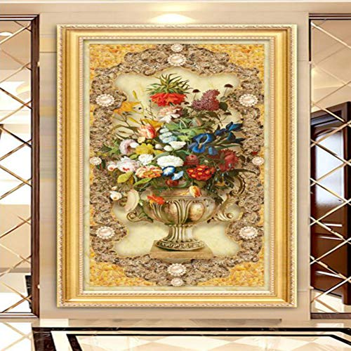 Pbldb 3D Wallpaper for Walls Home Improvement European Style Oil Painting Floral Marble Mystery Background Decoration Painting-350X250Cm