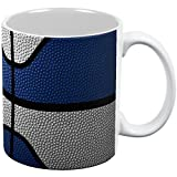 Championship Basketball Navy Blue & White All Over Coffee Mug White Standard One Size