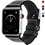 Deals & Review 7 Colors for Apple Watch Band, Fullmosa Jan Calf Leather Strap Replacement Band/Strap with Stainless Steel Clasp for iWatch Series 1 2 3 Sport and Edition Versions 2015 2016 2017, Black,42mm