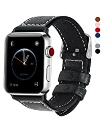 7 Colores para Correa Apple Watch, Fullmosa®LC-Jan Cuero iWatch Correa/Pulsera/Banda/Band/Strap para Reemplazo/Recambio de Reloj Ediciones 2015 2016 2017 para Apple Watch Series 3, iWatch Series 3, Series 2, Series 1, Negra 42mm