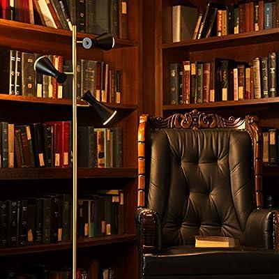 CO-Z LED Floor Lamp, 3 Light Tree Torchiere Task Floor Lamp for Living Room Corner Bedroom Home Office, Bright Pole Industrial Modern Standing Reading Light with 3 Adjustable Black Heads