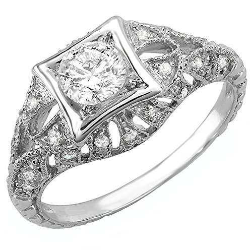 Dazzlingrock Collection 0.33 Carat (Ctw) 14k Round White Diamond Semi-mount Engagement Antique Ring 1/3 CT (No Center Stone), White Gold, Size 9 (Ring Antique Mountings)