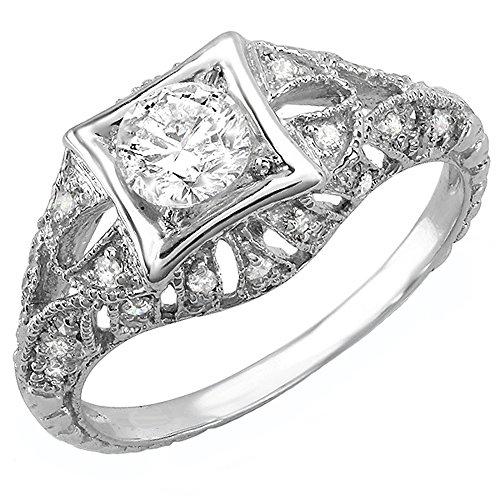 Dazzlingrock Collection 0.33 Carat (Ctw) 14k Round White Diamond Semi-mount Engagement Antique Ring 1/3 CT (No Center Stone), White Gold, Size - Round Diamond Antique Semi Mount
