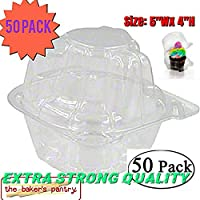 1-Compartment Cupcake Containers /, Strong and Sturdy, BPA Free, Clear Plastic, Cupcake and Muffin Containers, clear cupcake containers (50, single cupcake containers)