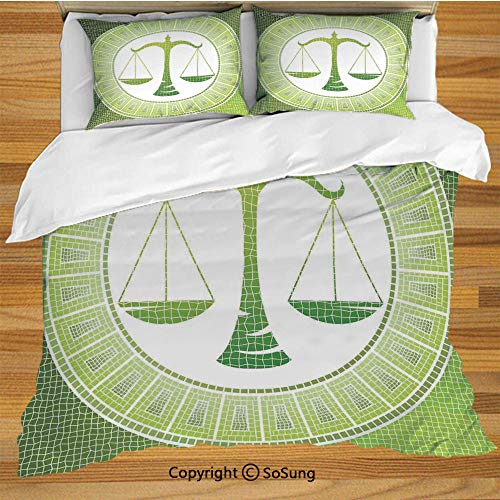 Astrology King Size Bedding Duvet Cover Set,Libra Sign on Antique Mosaic Background Balance Patient Zodiac Air Symbol Decor Decorative Decorative 3 Piece Bedding Set with 2 Pillow Shams,Green White