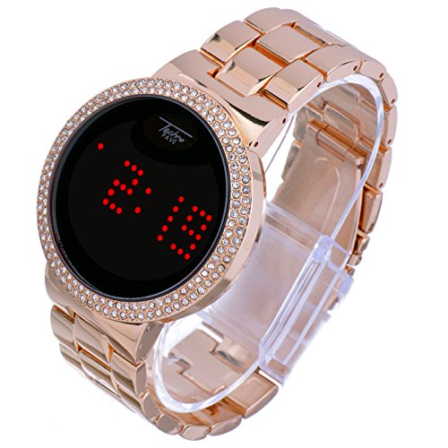 Techno Pave Iced Out Bling Diamond Rose Gold Digital Touch Screen Metal Band Watches WM 8165 ()