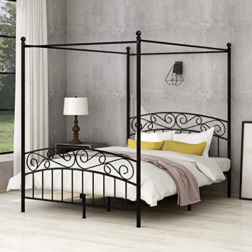 Yollen Canopy Bed with Sturday Metal Bed Frame No Box Spring Needed Mattress Foundation Black Queen Size