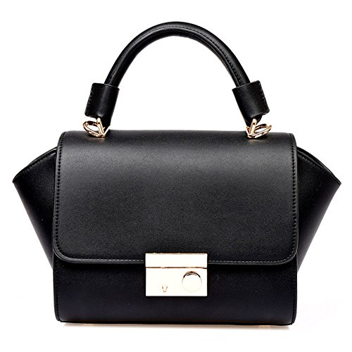 Missfox Women Sweet Casual Candy Colored Top Handle Handbag Bag Black