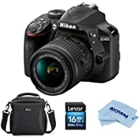 Nikon D3400 DSLR with AF-P DX NIKKOR 18-55mm f/3.5-5.6G VR Lens, Black - Bundle With Camera Bag, 16GB SDHC Card, Microfiber Cloth