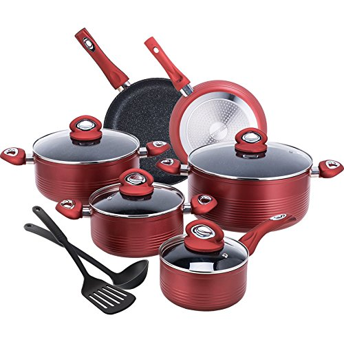 CO-Z 12-PCS Red Cookware Set Teflon-Coated Nonstick Pots and Pans Set, Induction Compatible, with Bakelite Handle, FDA Certificated, PFOA –Free, Dishwasher-Safe