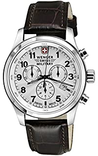 Wenger Swiss Military Field Dark Brown Leather Chronograph Date Mens Watch 79013
