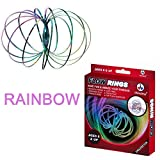 Flow Ring Rainbow, Original Arm Slinky Rainbow Stress Buster Kinetic Spring Toy - 3D Sculpture Ring Game Toy for Kids Boys and Girl Stainless Steel Rave Accessories iWireless USA