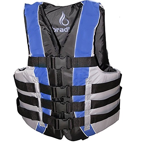 Bradley Fully Enclosed Deluxe 4-Buckle Adult Life Jacket Vest (Blue) (4 Mens Vest Buckle)