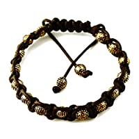 Perepaix RAVE Mens Bracelet Shang Shamballa Golden Round Beads in Plated Alloy Brown Wax Cord Adjustable