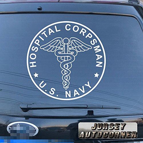 (Jursey Auto US Navy Hospital Corpsman Decal Sticker Car Vinyl pick size color die cut no background (white, 6'' (15.2cm)) )